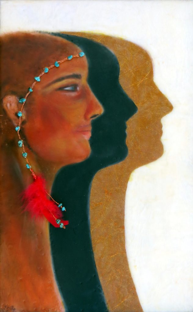 encaustic painting of woman wearing a turquoise and copper headband with red feather with her dark and golden shadows