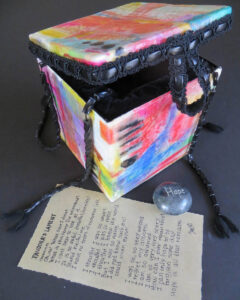pandora's box of hope 3-D artbox by Janet Fox with colorful encaustic surface black trim beads lament poem hope stone
